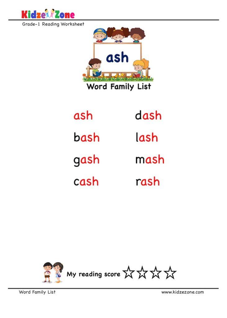 """ash"" Word Family word list Worksheet"