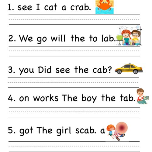 Kindergarten worksheet - ab word family - Unscramble words 5