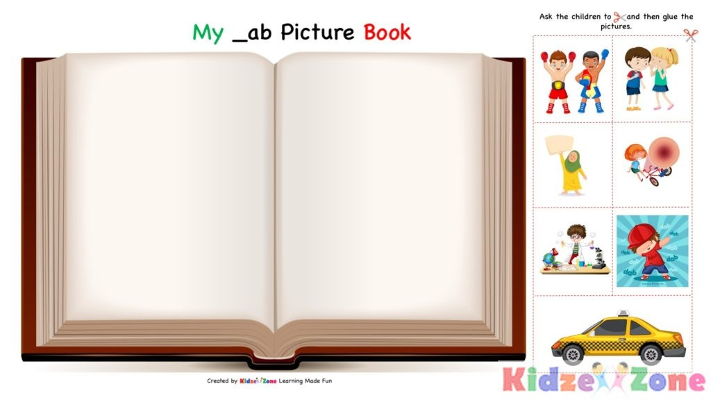 ab word family - cut and paste worksheet