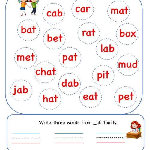 Kindergarten worksheet - ab word family - find and circle 4