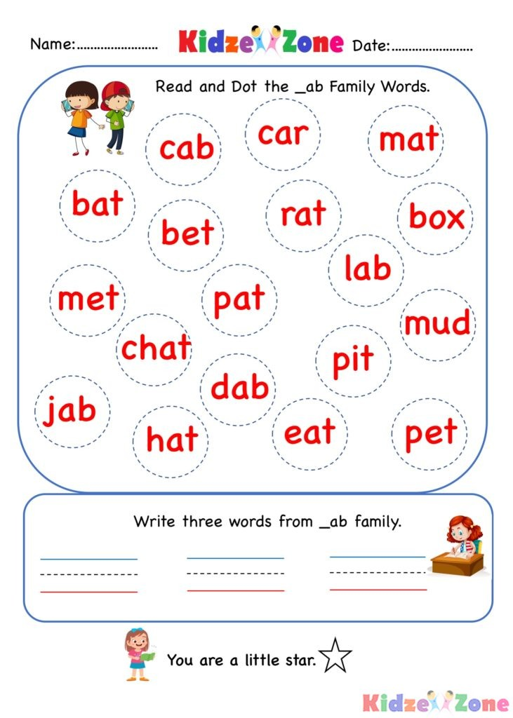 ab word family - find and circle worksheet