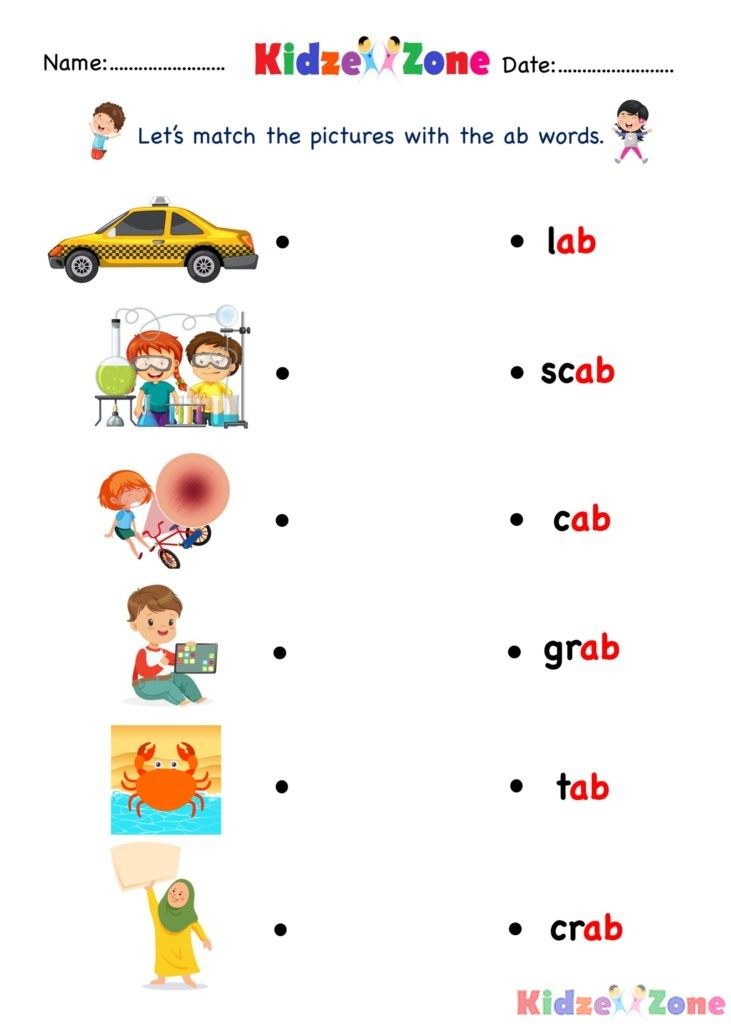 Ab Word Family - Find And Match Kindergarten Activity Worksheet