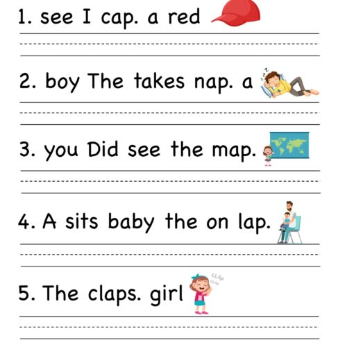 Kindergarten worksheet - ap word family - Unscramble words 5