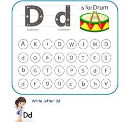 Letter D d Find and Color Worksheet
