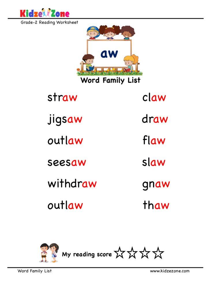 """aw"" word family word list worksheet"