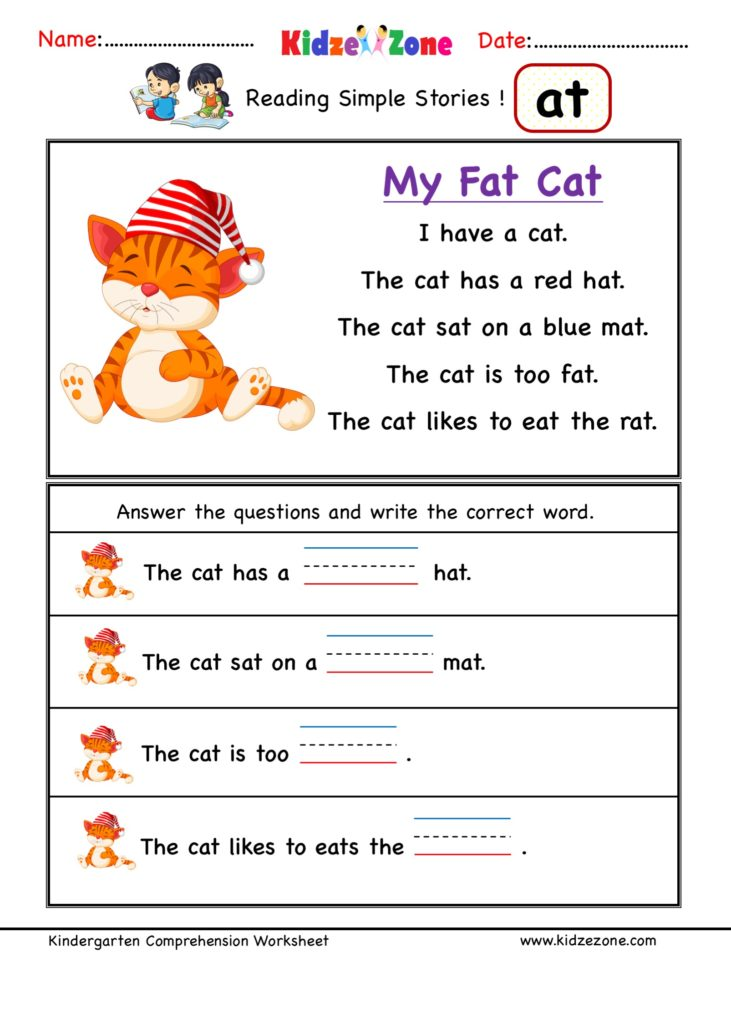 at word family Reading Comprehension worksheet