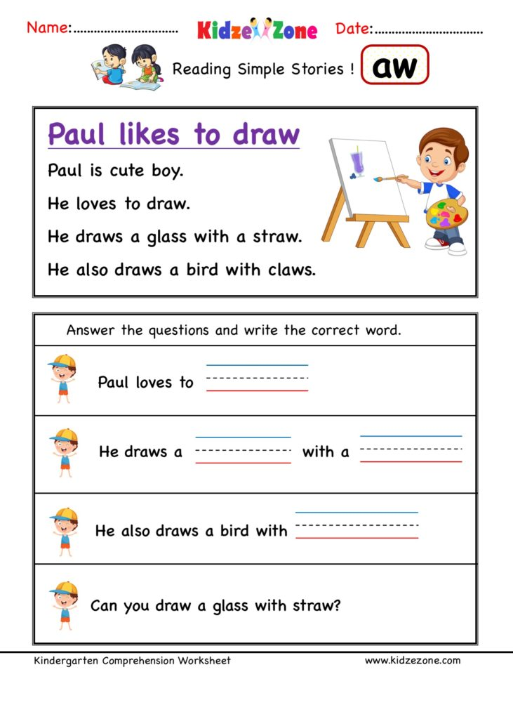 Aw Word Family Kindergarten Reading Comprehension #3 - KidzeZone