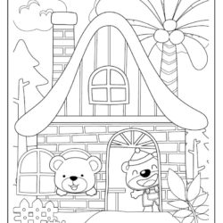 Bear in House coloring sheet