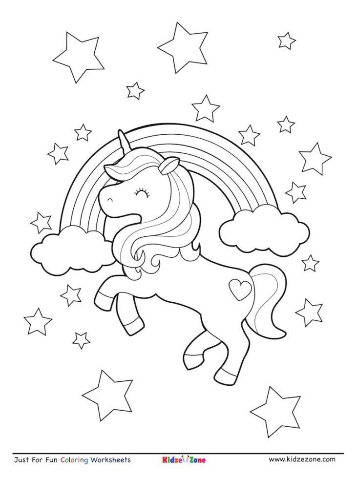 Unicorn Rainbow Coloring Page - KidzeZone