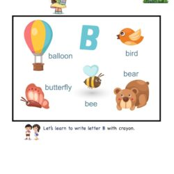 Letter B picture card worksheet. Use picture clues to link letters and enhance letter memory skills