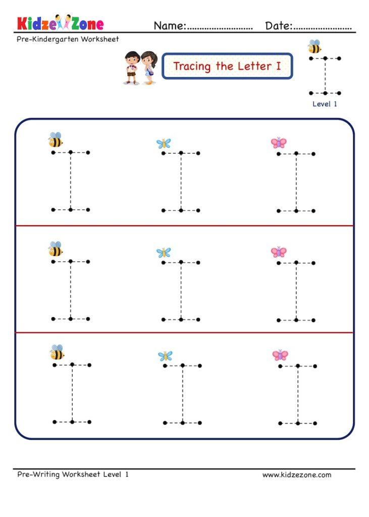 Preschool Letter I Tracing  Worksheet, Big Font