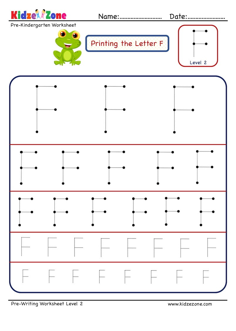 Letter F tracing Worksheets in different sizes