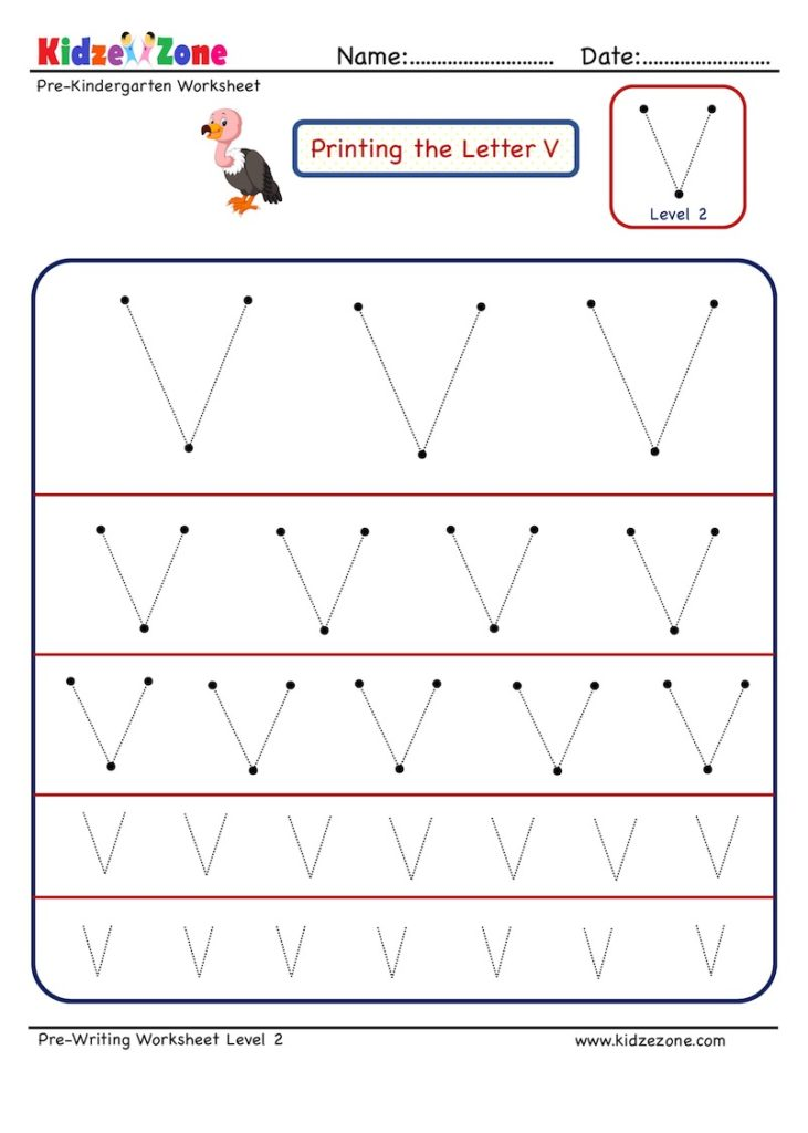 How to master Letter V with letter tracing worksheetin multiple sizes
