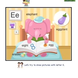 Letter E picture card worksheets and practice to enhance child letter memory skills