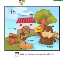 Letter H picture card worksheets and practice to enhance child letter memory skills