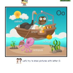 Letter O picture card worksheets. Letter recognition skills by linking letter to picture clue