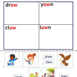 Kindergarten activity worksheet : Aw word family Cut and Paste