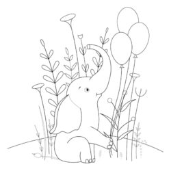 Elephant with Balloons Coloring Page