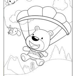 Bear sky diving coloring page