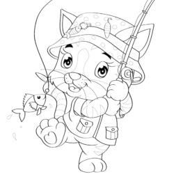 Cat fishing coloring page