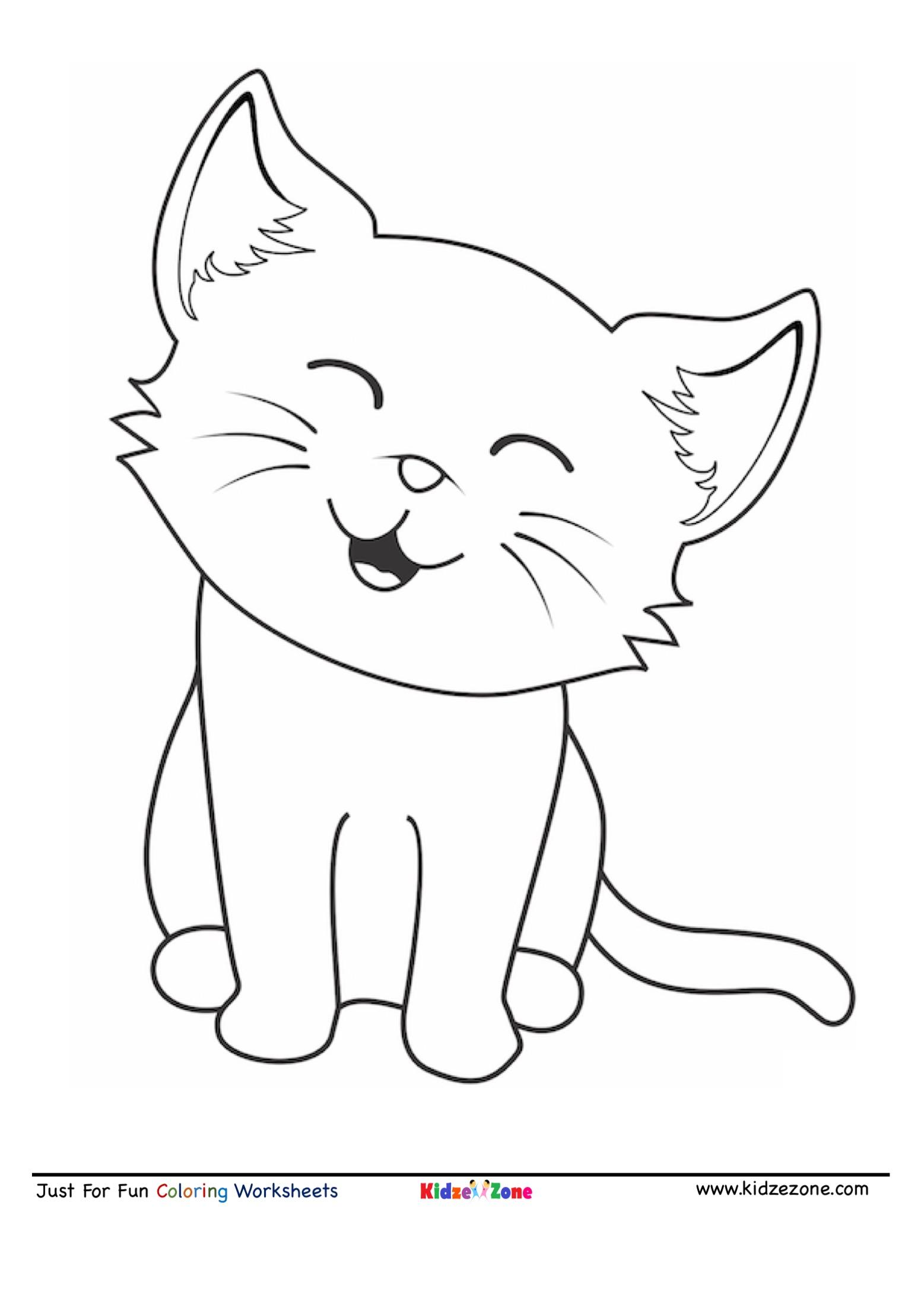 Cute Cat Cartoon Coloring Page - KidzeZone