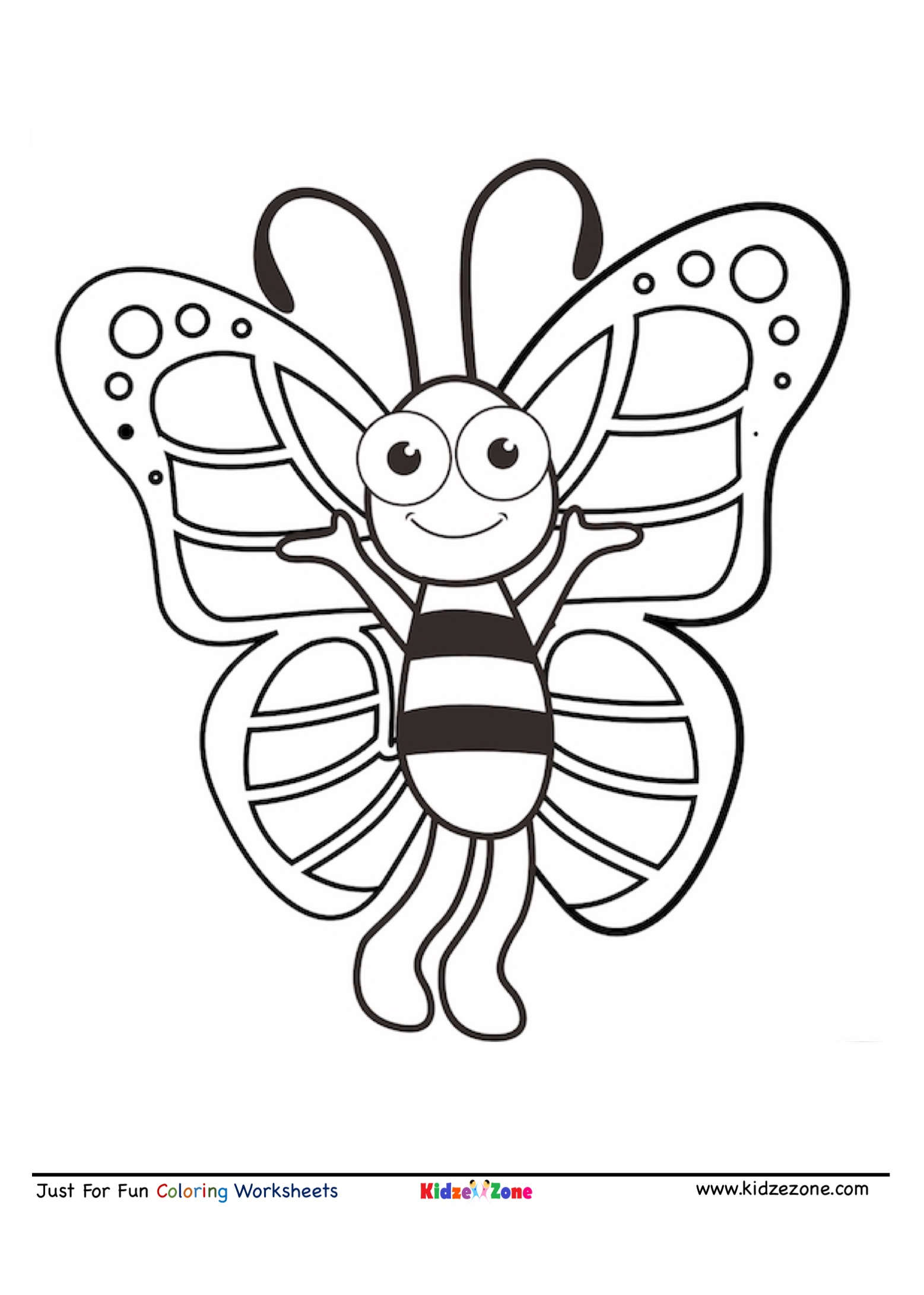 Butterfly Cartoon Coloring Page - KidzeZone