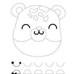 Letter B trace and Color Bear Face worksheet