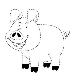 Letter P trace and color Pig worksheet