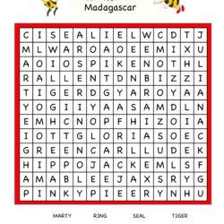Cartoon Word Search Fun Worksheet - Madagascar