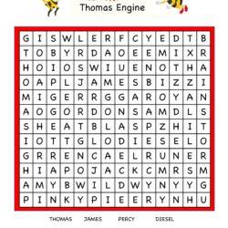 Cartoon Word Search Fun Worksheet - Thomas Engine