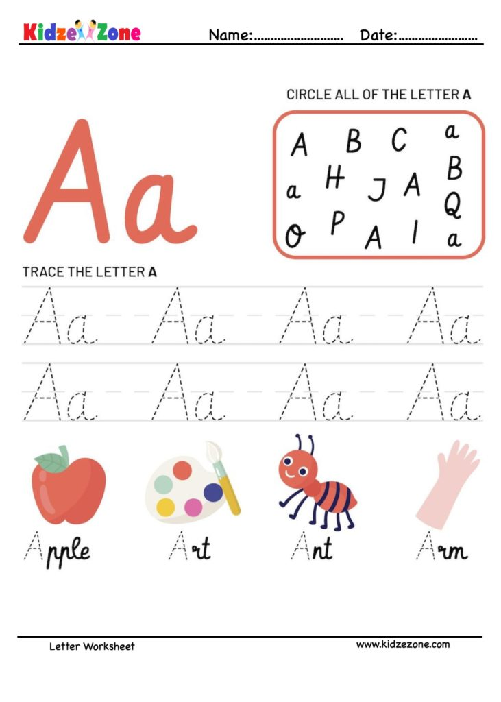 Letter A Tracking Worksheet. Learn words with letter A