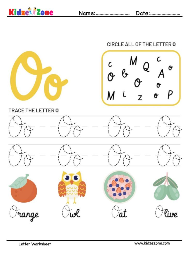Letter O Tracking Worksheet. Learn words with letter O