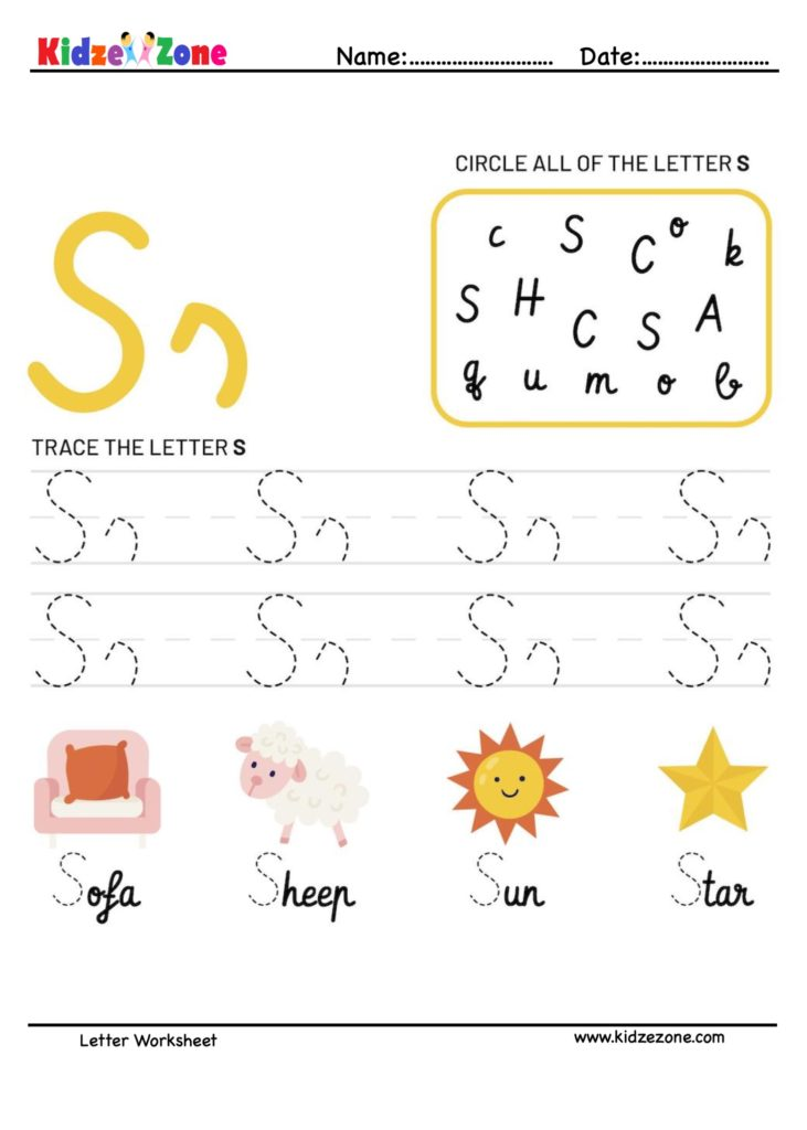 Letter S Tracking Worksheet. Learn words with letter S
